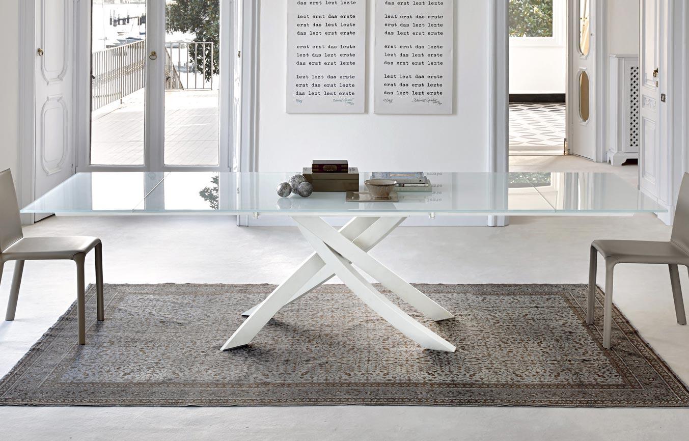 bontempi tavolo design da soggiorno allungabile artistico